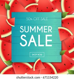 Summer Sale Banner. Poster, Flyer, Vector. Slices of watermelon on a background.