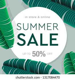Summer Sale banner, poster with palm leaves, jungle leaf and lettering. Floral tropical summer background. Vector illustration