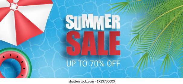 Summer sale banner or poster. Swimming pool with palm, umbrella, swim ring from Top view. Shopping promotion template for summer season.
