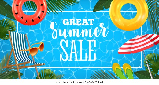 Summer sale banner with realistic inflatable rings, chaise lounge, sun glasses, beach umbrella and slates and tropical leaves background, exotic floral design.