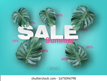 Summer Sale Banner With Realistic Tropical Leave. EPS10 Vector