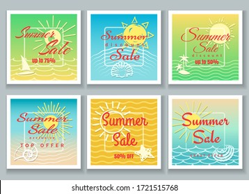 Summer sale banner set. Business promotional banners for design of retail offers in shop vector templates