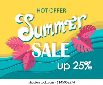 Summer sale banner, signboard, decor for the store. Top view of beach and sea, background, vector.