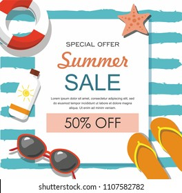Summer sale banner with sun glasses, lifebuoy and others Vector illustration
