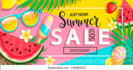 Summer sale banner with symbols for summertime such as ice cream,watermelon,strawberries,sunglasses.Vector illustration of discount template card, wallpaper,flyer,invitation, poster,brochure,voucher.