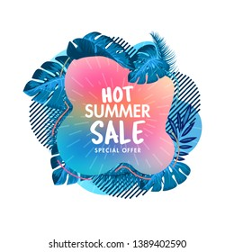 Summer sale banner template. Summer abstract geometric badge and stylized palm leaves. Tropical design. Sales ad template for the summer season