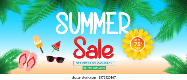 Summer sale banner template with beach umbrellas and tropical leaves background, for shopping sale. banner design. Poster, card, web banner. Vector illustration