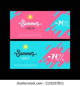 Summer sale. Sale banner template. Colorful brochure design. Facebook Cover. Facebook banner. Gift card. Sale voucher.