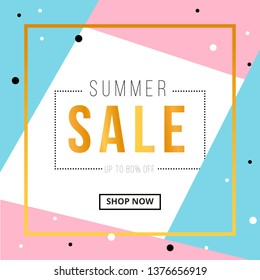 Summer sale banner template design with gold square frame. Social media banner template, voucher, discount, season sale