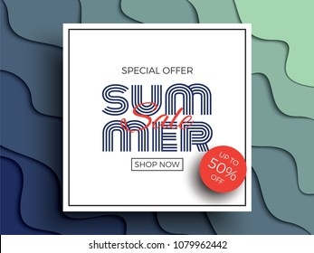summer sale banner template with paper cut multicolor layers and text for greeting cards, posters, flyers, invitations, brochures