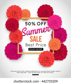 Summer sale banner template with paper flowers. Best price. Vector eps 10 format.