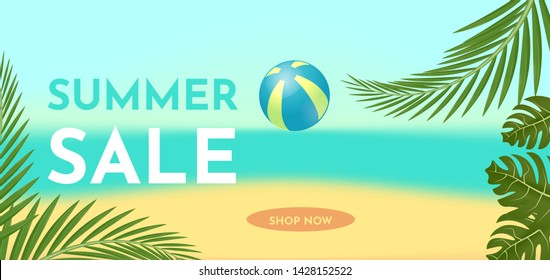 Summer sale banner template with tropic leaves. Hot offer concept. Vector illustration.