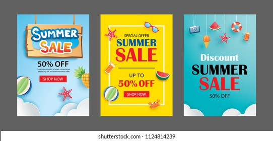 Summer sale banner templates. Paper art and craft style. Vector illustrations for email, newsletter, website, mobile ads, discount, coupon,poster.