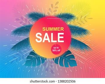 Sommerverkaufsbanner. Tropischer Hintergrund mit Palmenblättern.