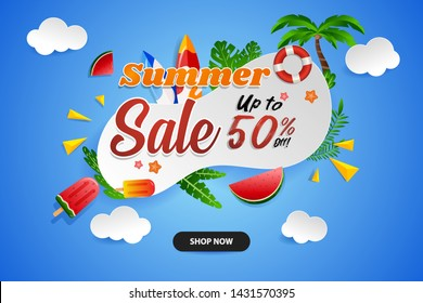 Summer sale banner with tropical beach elements on blue background and colorful style
