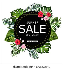 Summer sale banner with tropical leaves and hibiscus flowers. Discount template. Stock vector.