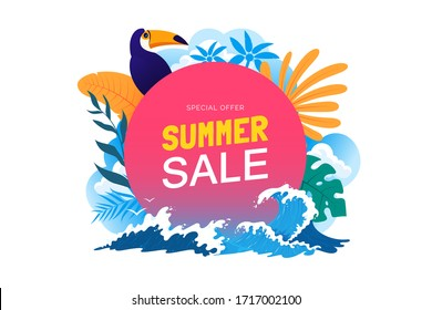 Summer sale banner with tropical leaves, toucan, sea waves. Summer vacation poster. Promo badge for your seasonal design. Vector illustration.