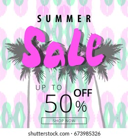 Summer sale banner. Tropical style. Seasonal clearance design. Vector