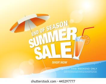 Summer sale banner. Vector illustration
