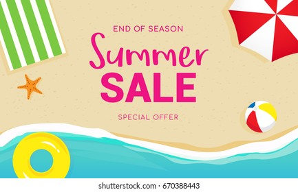 Summer sale banner vector illustration, Top view of summer beach.