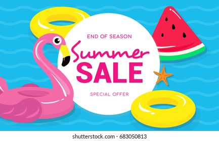Summer sale banner vector illustration, Flamingo pool float, watermelon pool toy and yellow rubber ring floating on water.