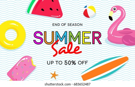 Summer sale banner vector illustration, Pool toy, ball, surfboard and yellow rubber ring floating on water.