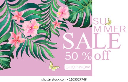 Summer sale banner. Vector iluustration with tropicsl flowers and palm leawes. template for web design.
