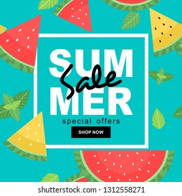 Summer sale banner with watermelons and mint leaves seamless background . Vector illustration of discount template card, wallpaper,flyer,invitation, poster,brochure,voucher, or social media