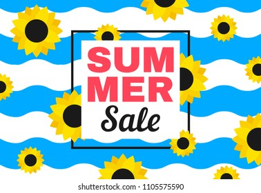 summer sale  banner with waves and sunflowers