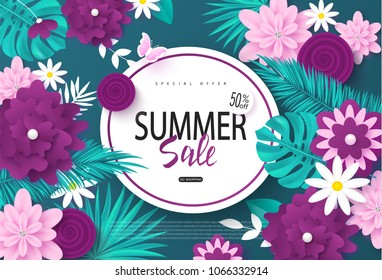 Summer sale banner.Background with flowers, butterflies and tropical leaves. Vector illustration for posters, coupons, promotional material.