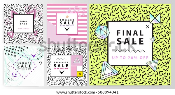 Summer sale banners. Memphis and mondrian style. Vector illustration. Simple forms. The golden section.