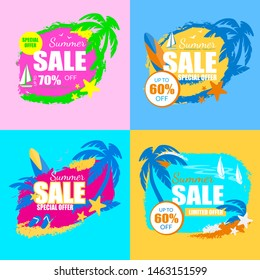 Summer Sale Banners Set with Palm Trees, Yacht, Starfish, Surf Board, Slippers, Starfish, Tag, Icon Grungy Style Isolated, Summertime Promo Advertising Poster, Ad, Cartoon Flat Vector Illustration