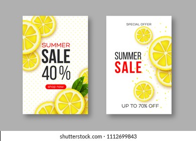 Summer sale banners with sliced lemon pieces, leaves and dotted pattern. White background - template for seasonal discounts, vector illustration.