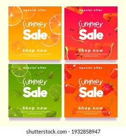 Summer sale banners, social media post template. Vector set of square posters for promotion and advertising with cartoon illustration of fruit slices, watermelon, orange, strawberries and cherries