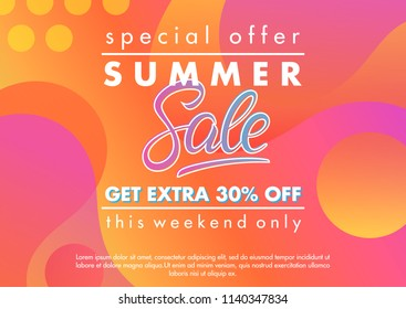 Summer sale banner.Unique design card with gradient background,shapes and geometric elements in memphis style.Sale season card perfect for prints, flyers,banners, promotion,special offer and more.