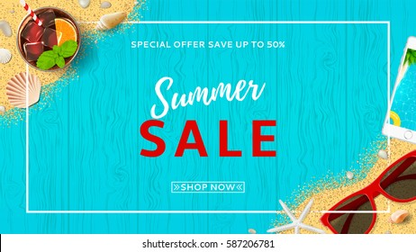 Summer sale beautiful web banner. Top view on seashells, sun glasses, fresh cocktail, smartphone and sea sand on wooden texture. Vector illustration with spesial discount offer.