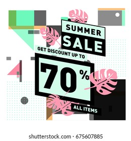 Summer sale beautiful web banner. Fashion and travel discount. Vector illustration with spesial holiday offer.