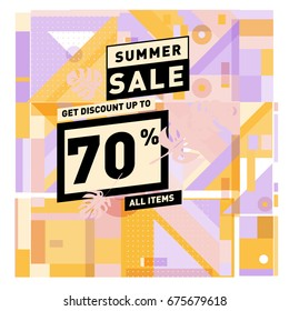 Summer sale beautiful web banner. Fashion and travel discount. Vector holiday illustration with special offers and promotions.