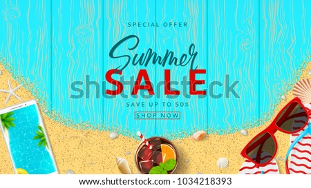 89c805516023 Summer Sale Beautiful Web Banner Top Stock Vector (Royalty Free ...