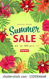 Summer sale with blooming Crimson passion flowers, Hibiscus and Bromeliads flower tropical background template. Vector set of exotic tropical garden for website, voucher, brochures and banners design.