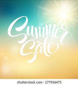 Summer Sale, blurred background. Vector illustration EPS 10.