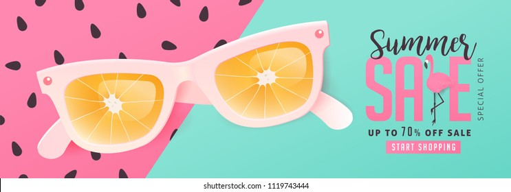 Summer sale bright Color background layout banners .Orange sunglasses concept.voucher discount.Vector illustration template.