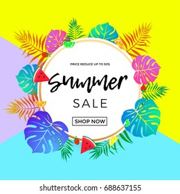Summer sale bright poster for seasonal shopping discount and online shop web banner template. Vector promo flyer design of summertime watermelon and orange fruit on tropical palm leaf background