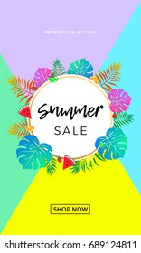 Summer sale bright poster or web banner for seasonal shopping discount and online shop promo sale design template. Vector summertime watermelon, orange fruit and strawberry on palm leaf background.