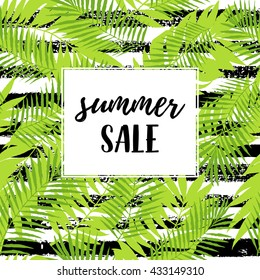Summer sale calligraphic poster, web banner with tropical leaves tree leaves seamless pattern on ZigZag striped geometric texture. Summer party graphic design. Vector summer illustration.