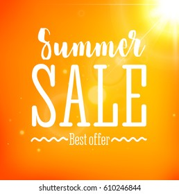 Summer Sale card with sun flare on yellow background. Can be used for print banners, bags, posters, cards, stationery and for web banners, advertisement. Typography poster. Badge. Vector illustration