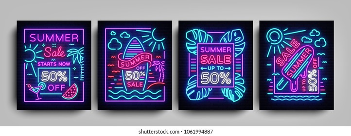 Summer sale collection posters in neon style. Set neon signs Summer sales, Design template Summer discounts, light banner, brochure, Night bright advertising sale and discount. Vector illustration