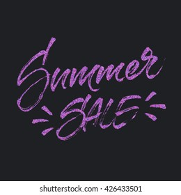 Summer sale colorful confetti lettering. Handwritten inscription with halftone effect. Discount and special offer banner, card, poster or tag design. Modern brush calligraphy style.