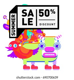 Summer sale colorful style banner and Poster. Toys, music, lifestyle and hobby event with discount poster. Vector Abstract colorful cartoon doodle illustration with special offer and promotion.