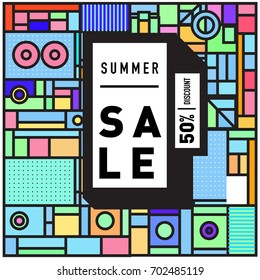 Summer sale colorful style banner and Poster. Fashion, music, and lifestyle event with discount poster. Vector holiday Abstract colorful illustration with special offer and promotion.